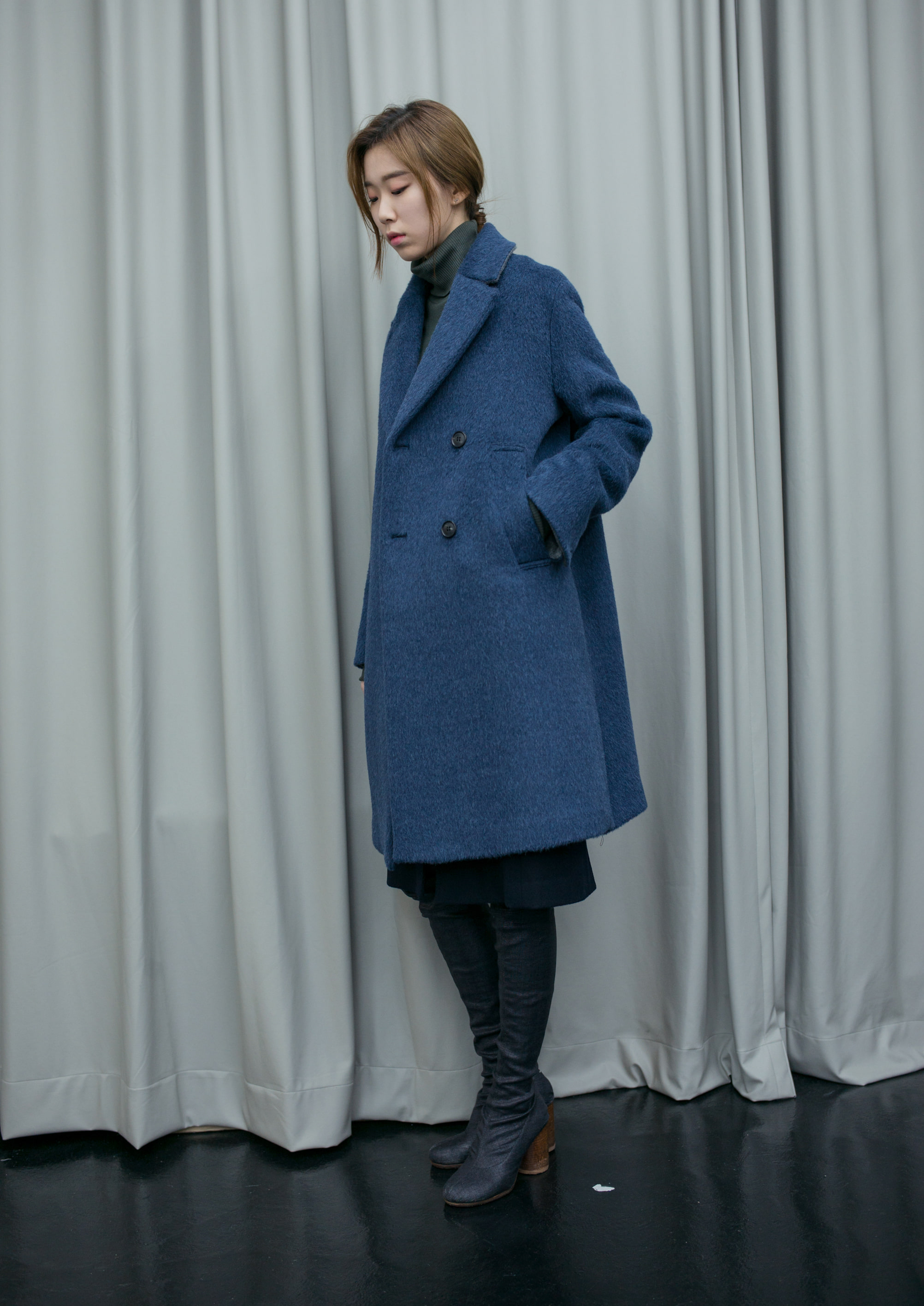 OVER FIT DOUBLE COAT- BLUE