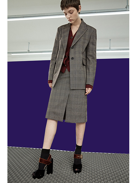 OVER FIT JACKET - BROWN CHECK
