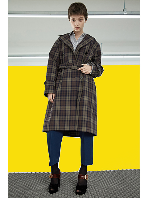 OVER FIT COAT - BROWN CHECK