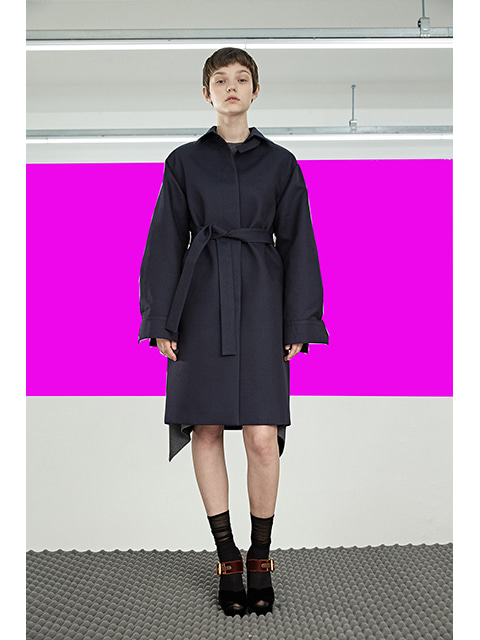 POINT TRENCH COAT - NAVY