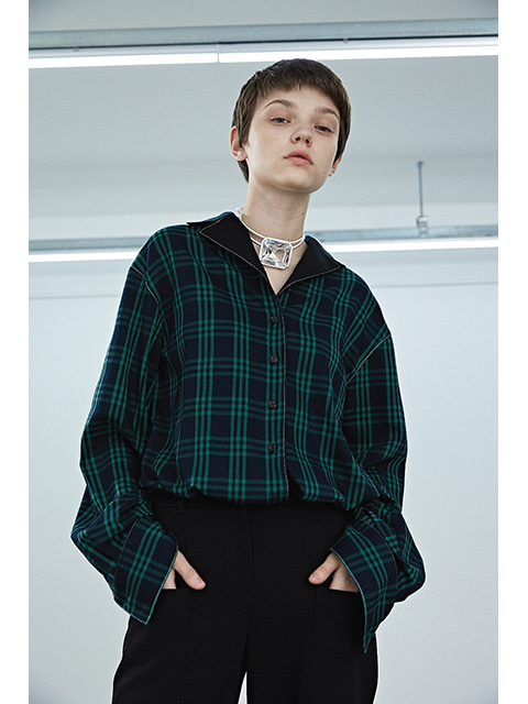 CHECK BLOUSON - GREEN