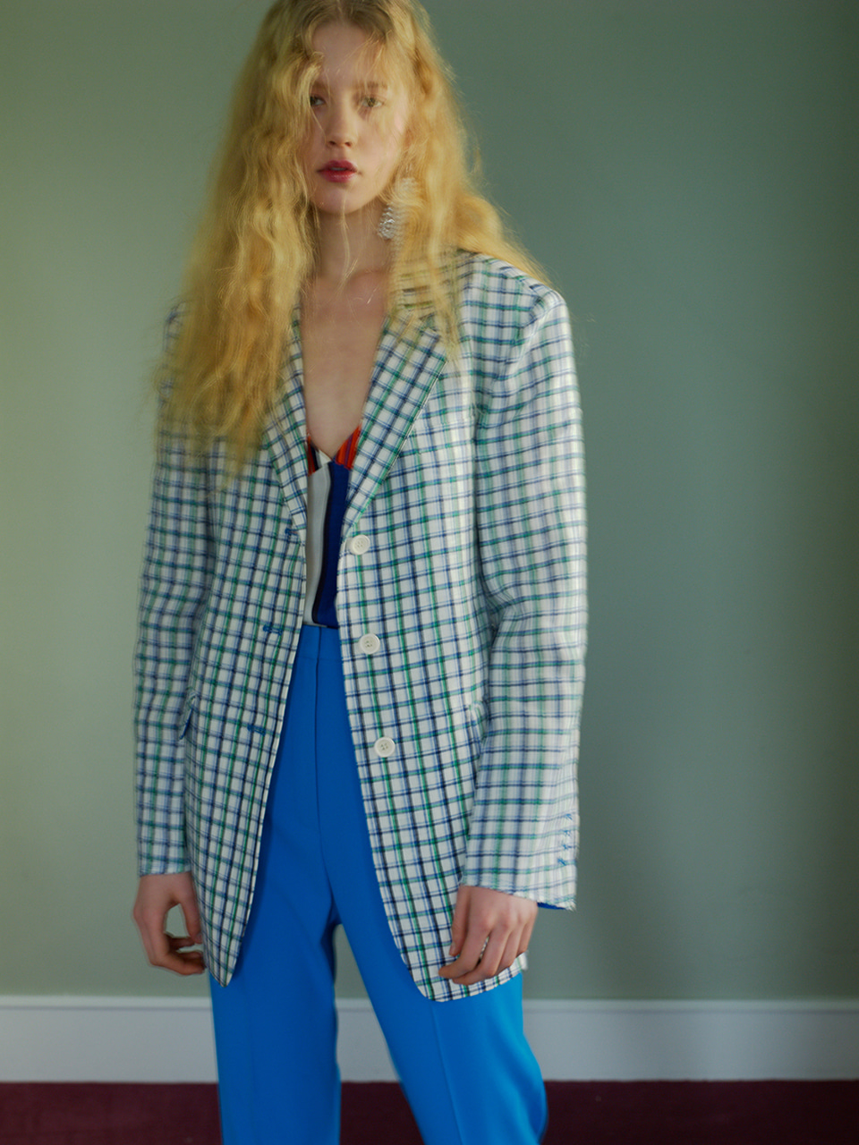 OVER-FIT LINEN JACKET - CHECK