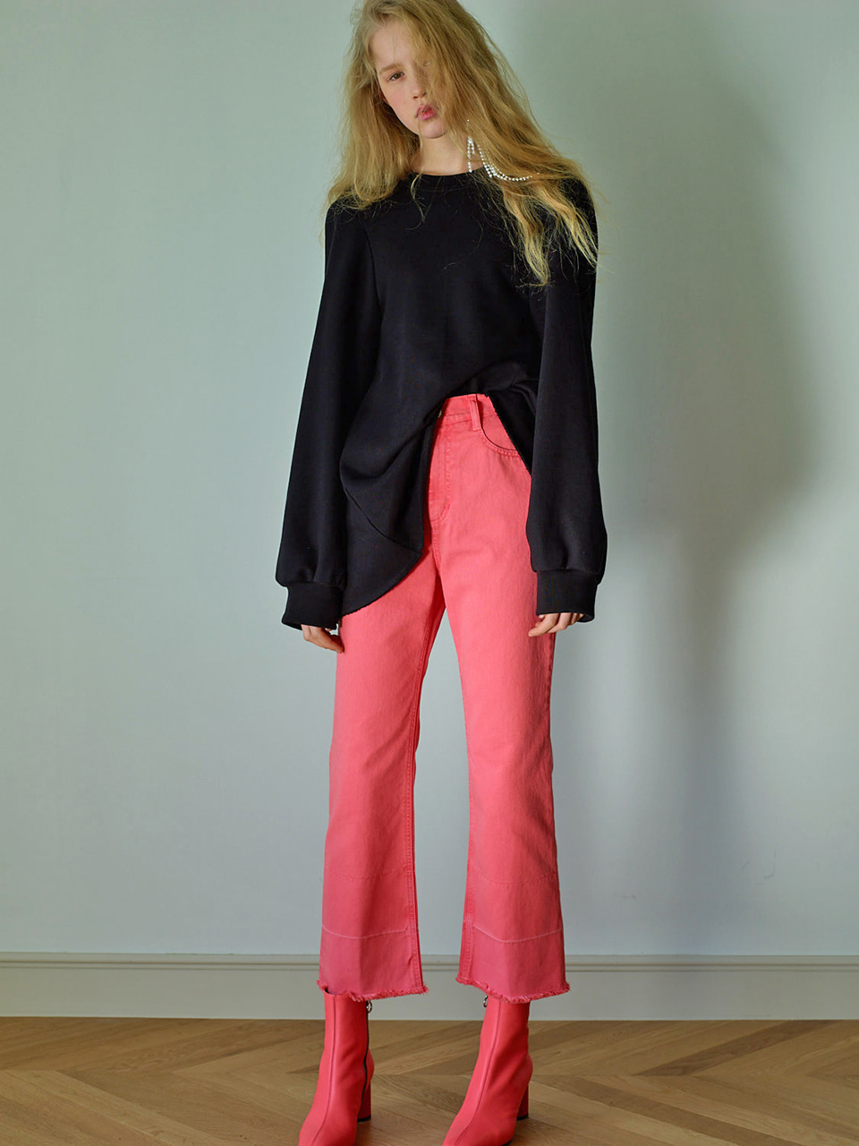 POINT DENIM PANTS - PINK