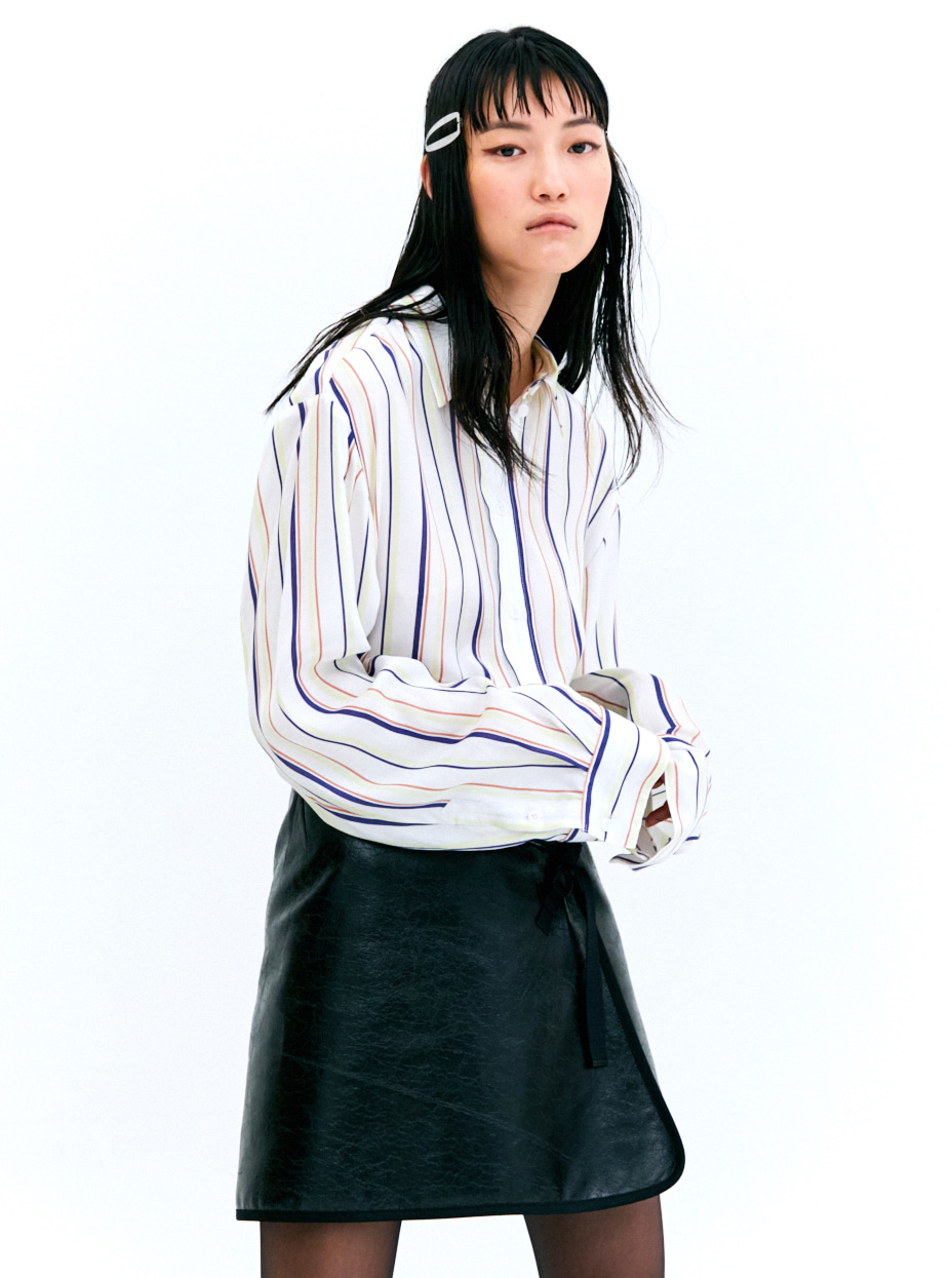 STRIPE OVER-FIT BLOUSE - WHITE
