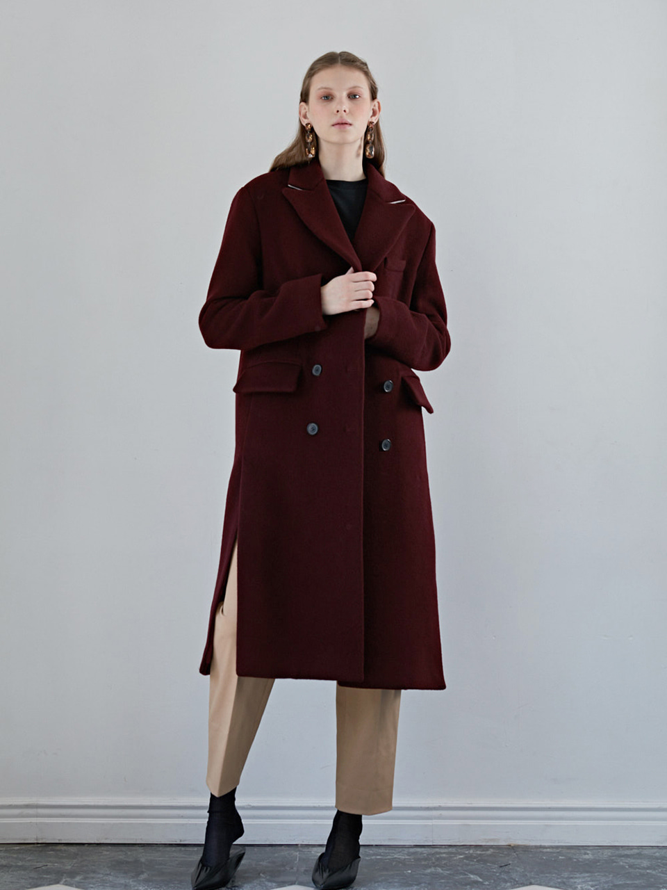 MARIANI WOOL COAT - WINE