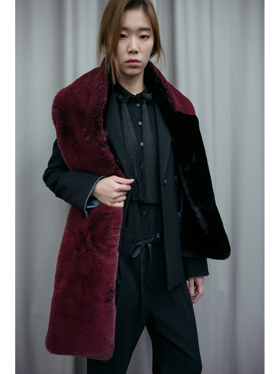 FAUX FUR MUFFLER - BLACK / WINE