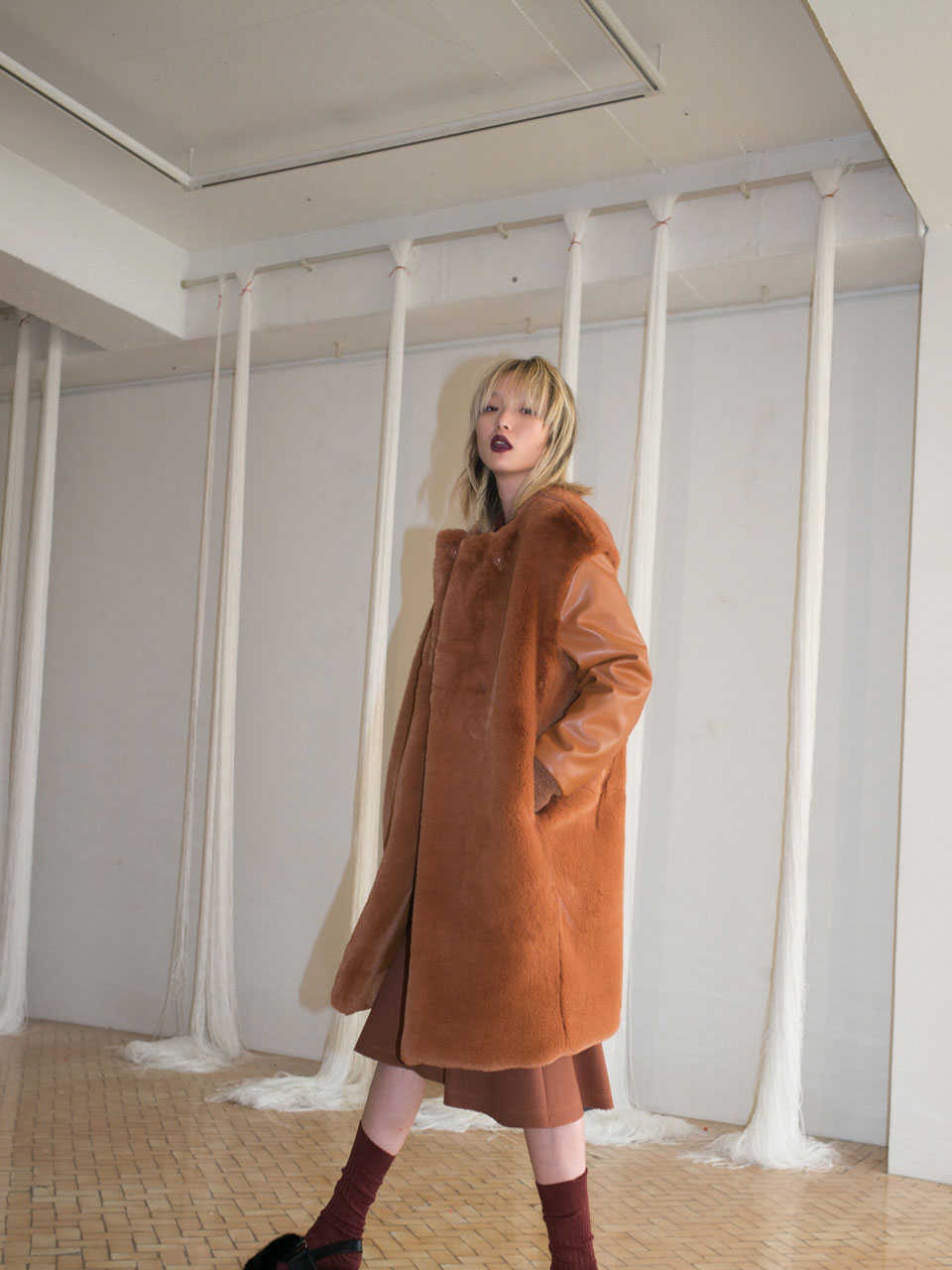 FAUX FUR COAT - CAMEL