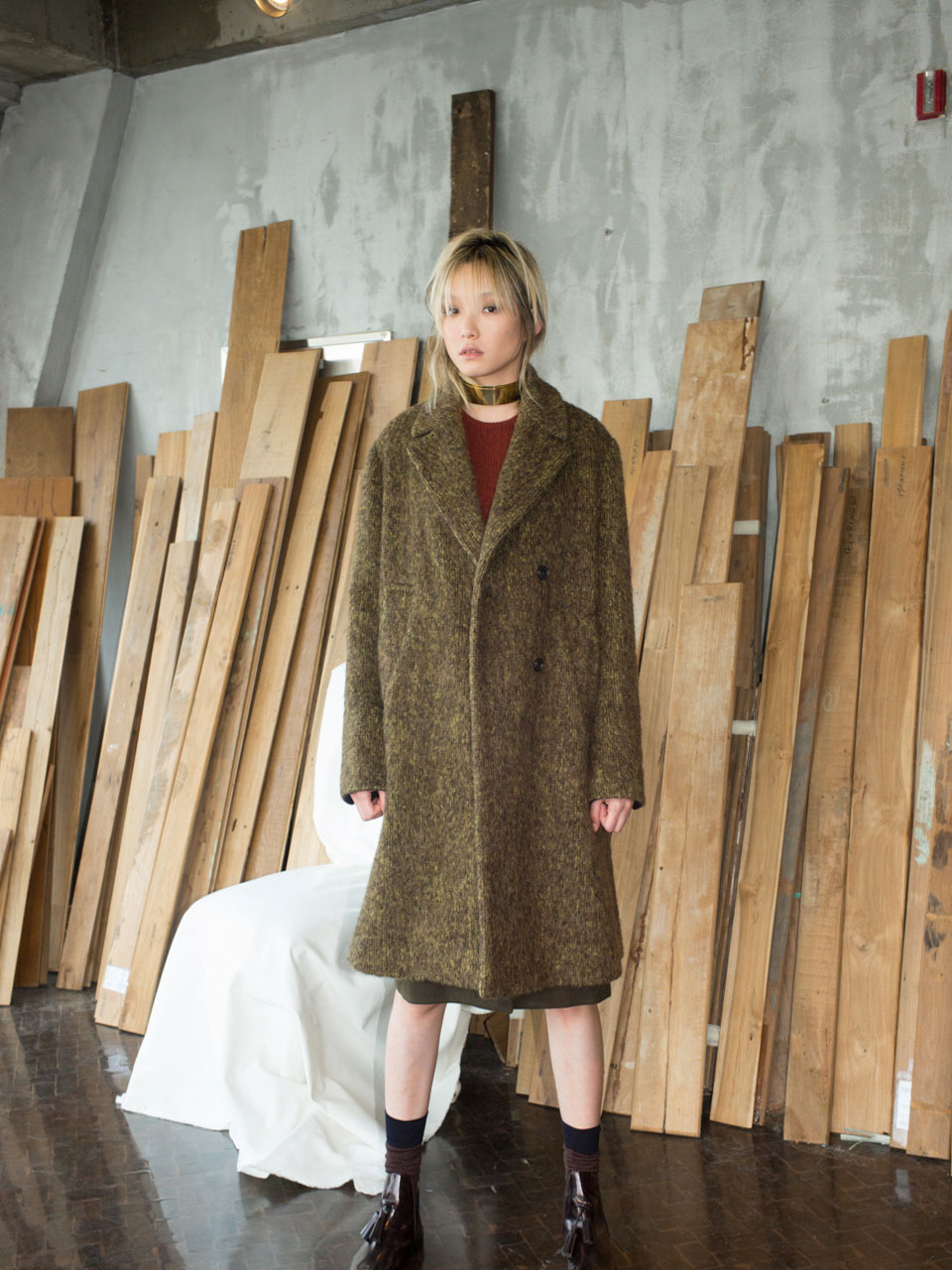 OVER FIT DOUBLE COAT- KHAKI