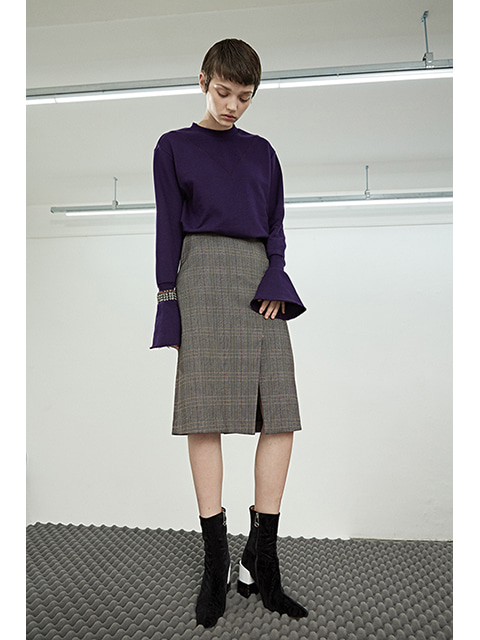 SLIT SKIRT - BROWN/VIOLET (2COLOR)