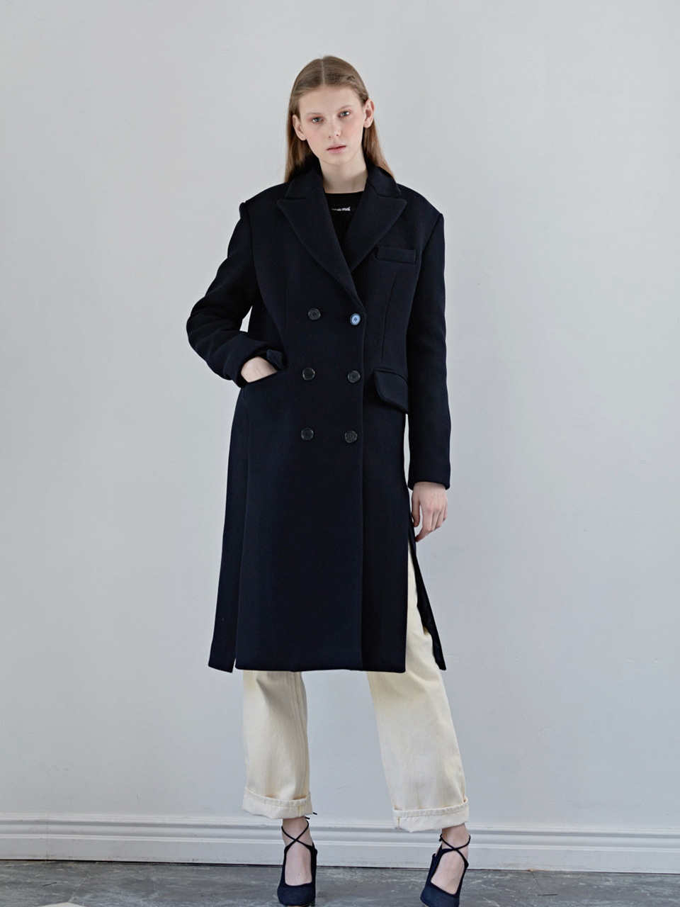 MARIANI WOOL COAT - NAVY