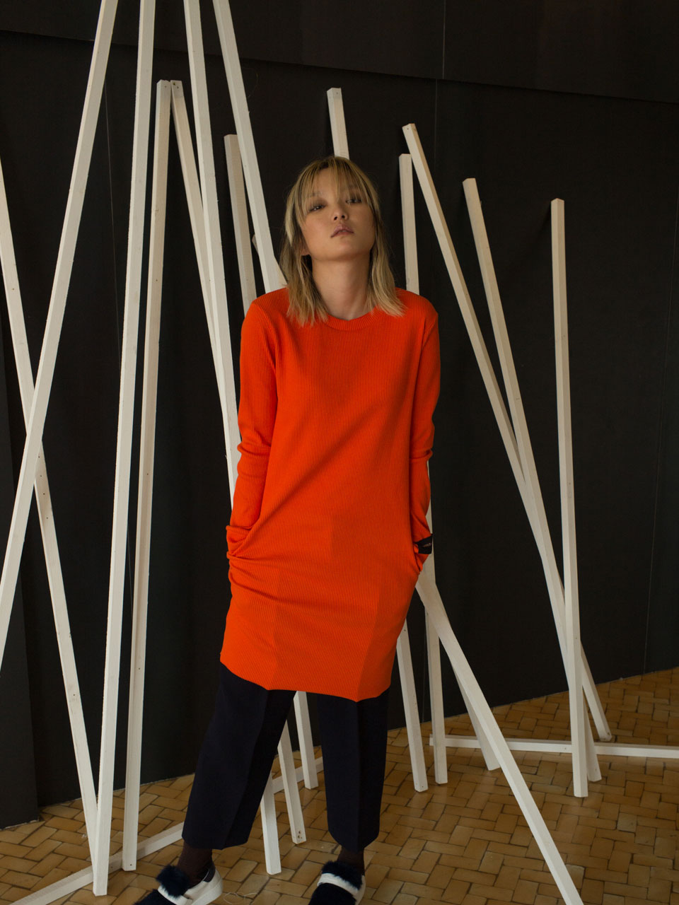 SLIM FIT JERSEY TOP - ORANGE