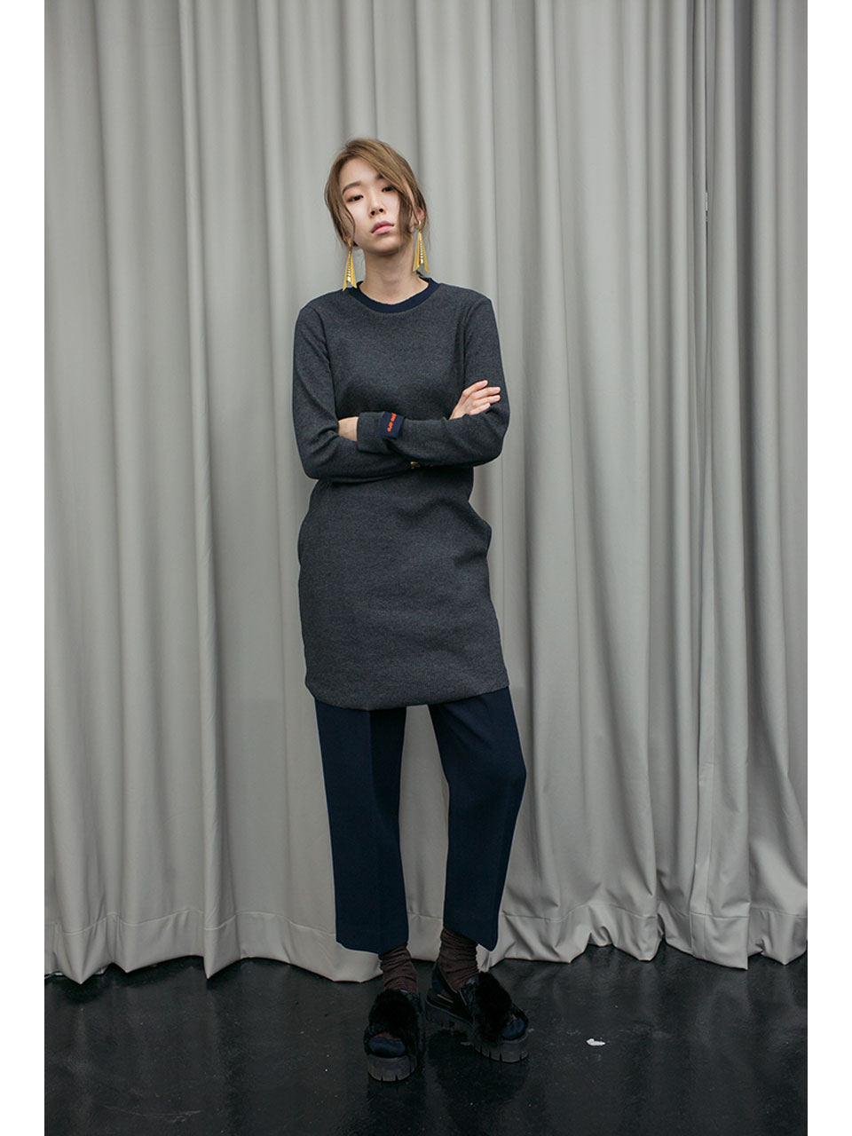 SLIM FIT JERSEY TOP - DARK GREY